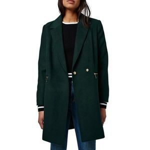 Topshop Meg Slim Coat - Bottle Green - US 4